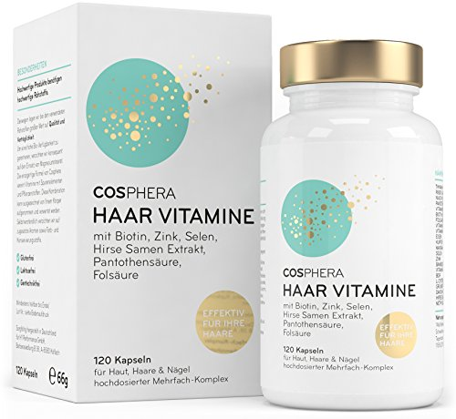 Cosphera Haar-Vitamine - Hochdosiert mit Biotin, Selen, Zink, Folsäure, Hirse Samen Extrakt - 120 vegane Kapseln im 2 Monatsvorrat - Haarkapseln für Männer und Frauen